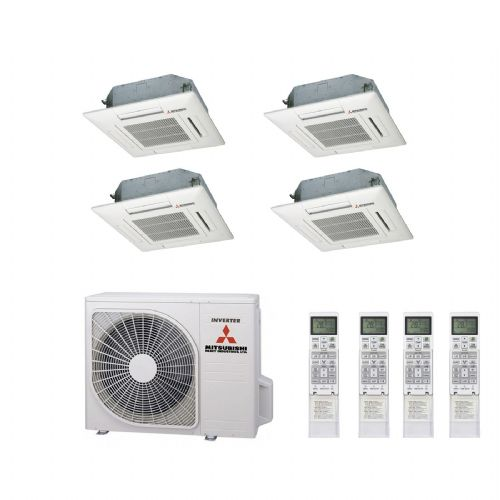 Mitsubishi Heavy Industries Air Conditioning SCM80ZM-S Multi Inverter Heat Pump 4 x FDTC35ZF Compact Cassette A+ 240V~50Hz